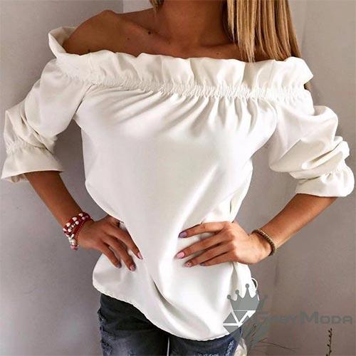 Дамски блузи с паднали рамене и 3/4 ръкави