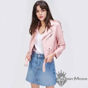 Дамски кожени якета в розов цвят с колан