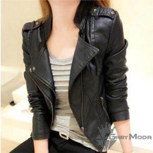 Дамски черни кожени якета със странично закопчаване