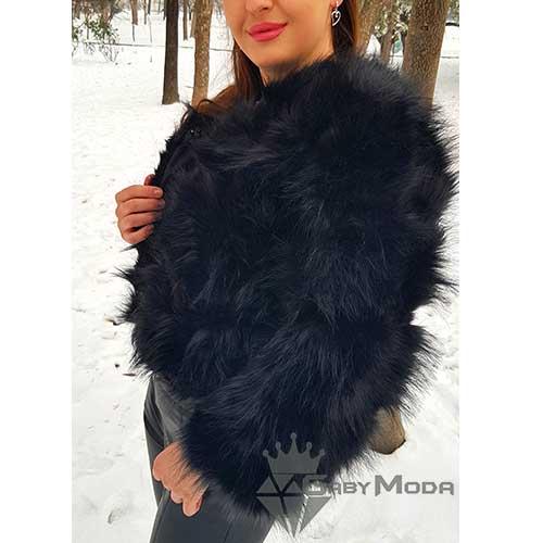 Дамско късо пухено палто