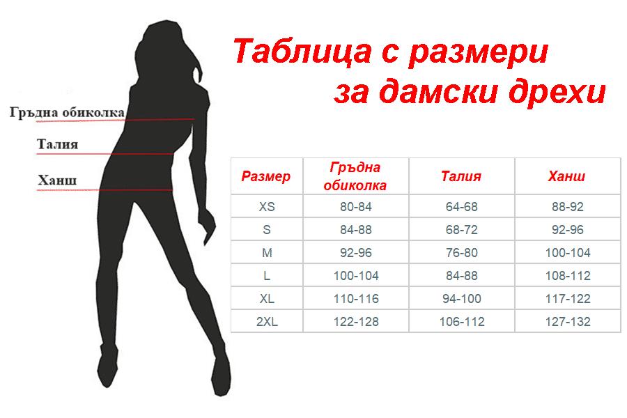 Таблица с размери за дамски дрехи